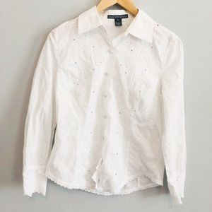 Saks Fifth Ave White Floral Blouse | Sz 4